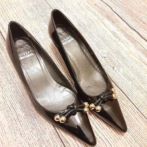 Stuart weitzman black patent heels pointy toe sz 6